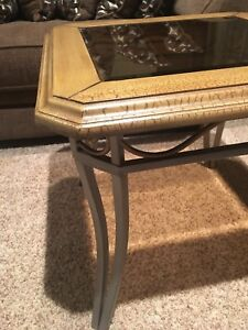 Glass top living room coffee, ends and sofa table set