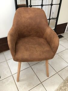 Mid century modern tan suede leather like wood legs chair