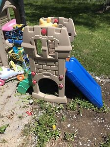 Kids slide and playhouse