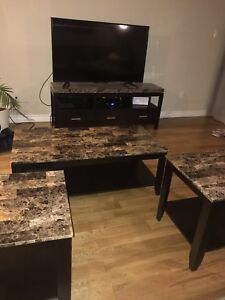 Faux marble living room set