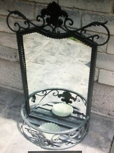 "16""x21""x6"" Attractive Black Iron Planter Mirror"