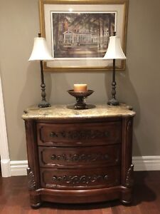 Solid wood cabinet with marble top