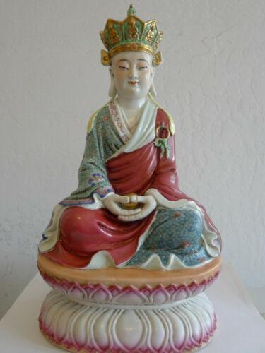 """Famille Rose Jingdezhen Porcelain Ksitigarbha Statue 地藏皇 14"""""""