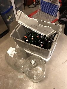 2 glass car boys and 30 + re usable flip top bottles