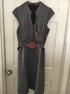 Grey and red sleeveless dress, XL