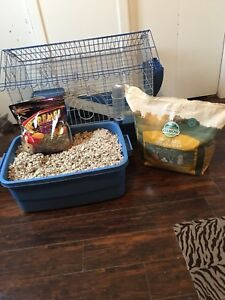 Bunny cage with supplies