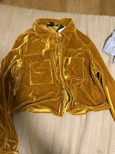 Brand New with Tag golden yellow button up velvet top