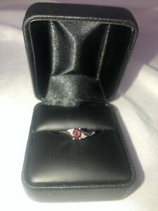 White gold 10K ring with red ruby