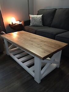 Beautiful handcrafted Rustic coffee table and end table.