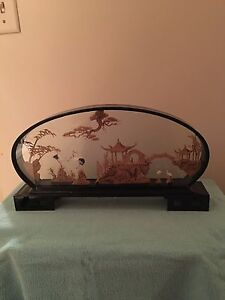 Miniature art glass box vintage Chinese wood engraved picture