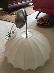 White Covered Ridge Dome Ceiling Light
