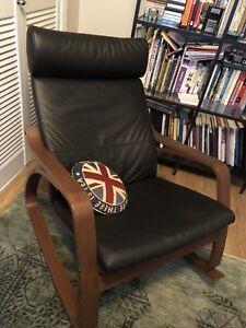 Black leather ikea POANG rocker rocking chair