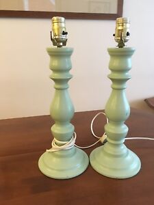 Solid wood turned vintage table lamps