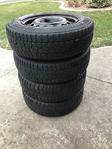 """4x100 14"""" Wheel Package with snow tires"""