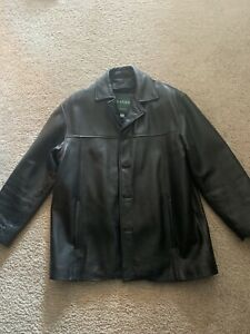 Men's 3/4 Length Black Danier Leather Coat