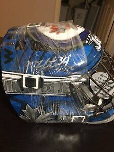 Selling Michael Hutchinson goalie mask signed