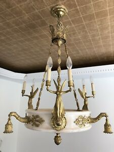Neoclassical Chandelier - Solid Brass and Italian Onyx