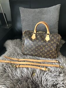 Authentic Louis Vuitton Speedy 30 Bandouliere in Mono w Strap