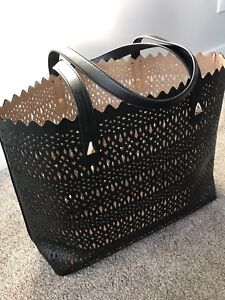 Stella & Dot Real Leather Black Tote Bag