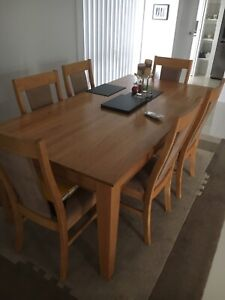 6 seater dinning table solid timber and chairs