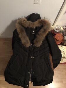 Manteau d'hiver vrai fourrure