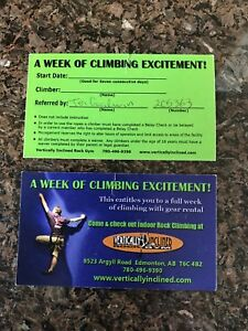 Vertically inclined week long passes including gear rental