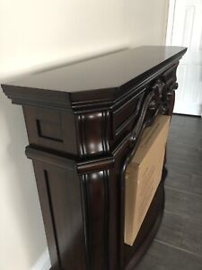 Cherry Wood Fireplace Mantle with Electric Fireplace