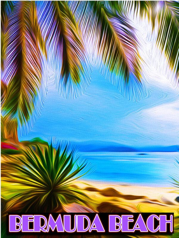Bermuda Beach Island Ocean Caribbean Sea America Travel Advertisement Poster