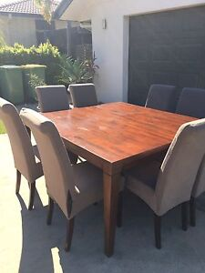 8 Dining Chairs and Solid Square Table Southside Gympie Area Preview