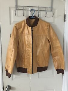 100% Authentic Moroccan Camel Leather Bomber Jacket