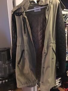 Small Green Army Colour Leather Sleeve Long Jacket Vero Moda