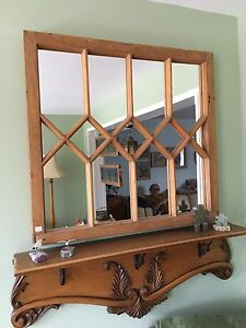 Beautiful Antique pine mirror and shelf