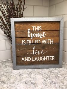 """""""Faux"""" metal frame with slats sign"""