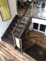 Edmonton wood staining and lacquering stairs railings more