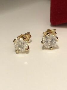 New diamond stud earrings 1.30ct  in 14 yellow gold