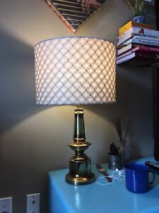 Vintage gold base lamp with new textured ivory shade