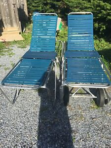 2 adjustable pool / deck loungers, stackable and one on wheels
