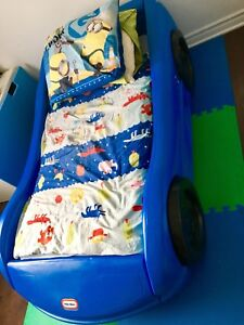 **SOLD / VENDU** Little Tikes Car Bed + Ikea  NEW cover set