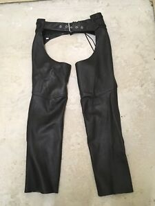 Ladies black leather riding chaps