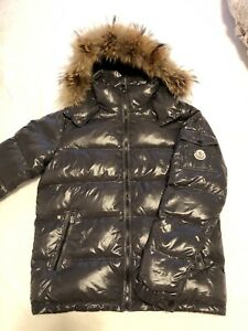 Moncler Grey Jacket With Fur Size 3