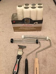 Painting rollers, putty knife, roller cleaner, scraper