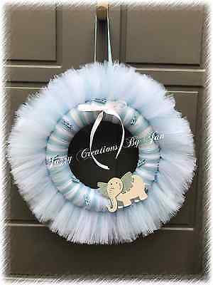BABY BOY TULLE WREATH ELEPHANT CLOTHES PINS BABY BOY WHITE & BLUE WALL - Clothespin Wreath