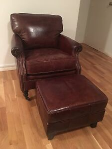 Designer Aged leather armchair and Ottoman NEW Vintage Antique look Brighton-le-sands Rockdale Area Preview