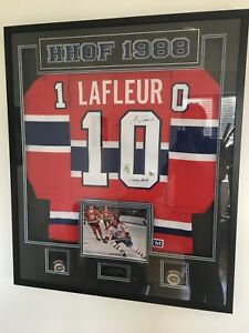 Chandail hockey jersey Guy Lafleur 2 signatures. cadre deluxe