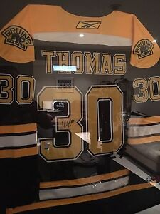 AUTHENTIC SIGNED STANLEY CUP FINALS TIM THOMAS JERSEY