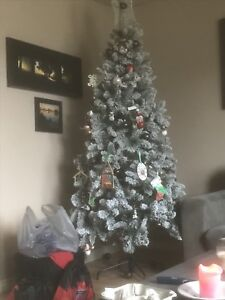 7ft foot pre lit frosted Christmas tree $50 5199175826