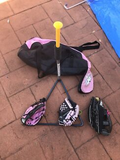 Soft Ball Gloves, t ball stand and bag