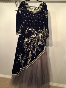 Black Grey velvet gown