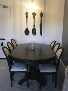 Solid black french dining table set