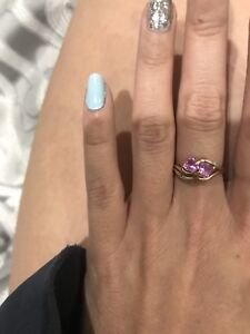 Gold Ring with Pink Stones